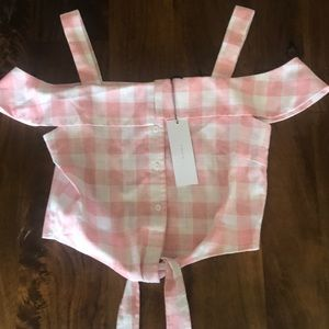 NWT THE ROOM by ark & co pink check crop top small